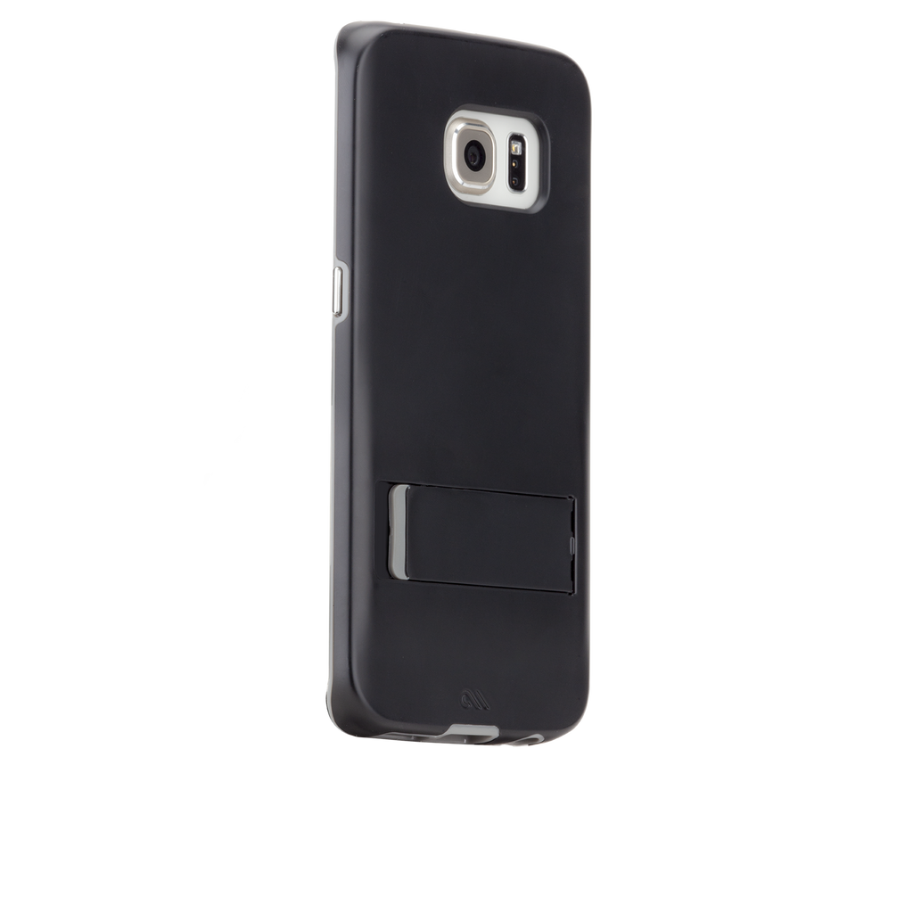 Samsung Galaxy S6 Edge Black & Titanium Tough Stand Case - image angle 1