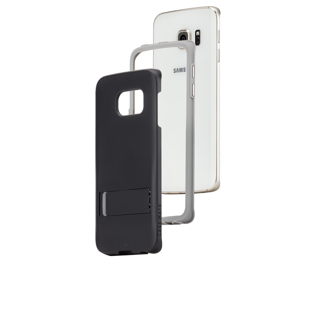 Samsung Galaxy S6 Edge Black & Titanium Tough Stand Case - image angle 8