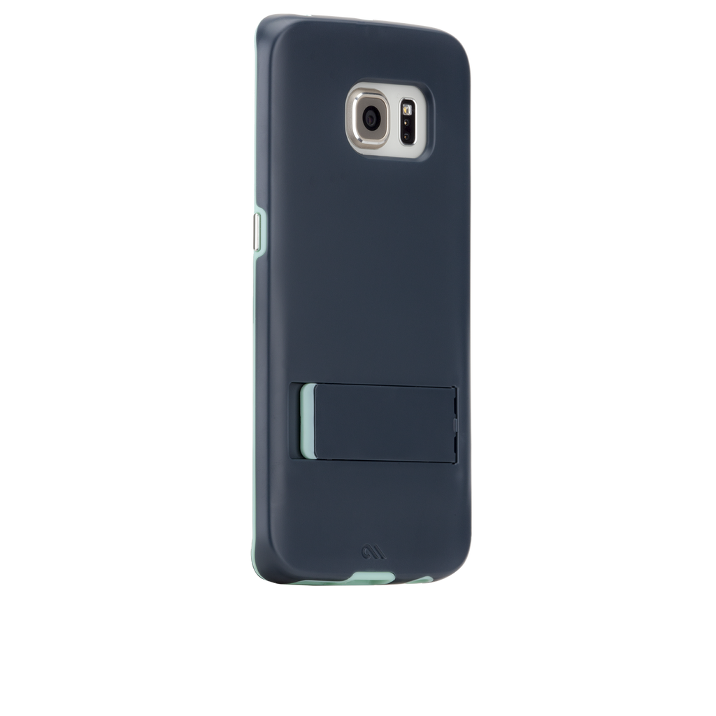 Samsung Galaxy S6 Edge Navy Blue & Champagne Gold Tough Stand Case - image angle 1