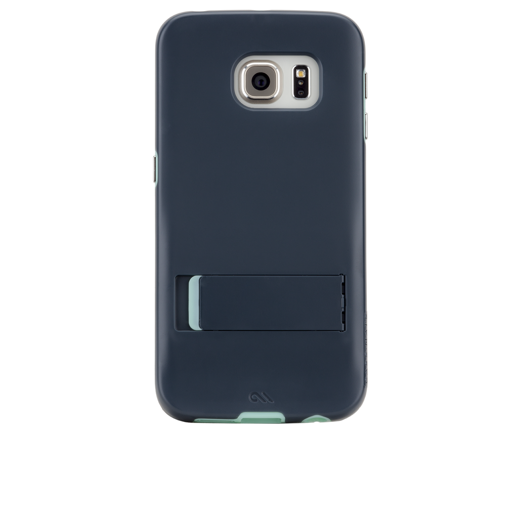Samsung Galaxy S6 Edge Navy Blue & Champagne Gold Tough Stand Case - image angle 7