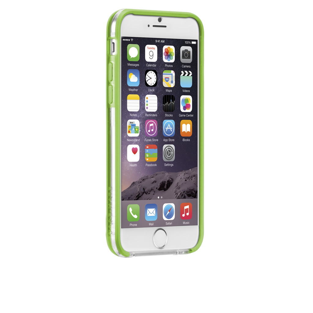 iPhone 6 Clear & Lime Green Tough Frame Case - image angle 2