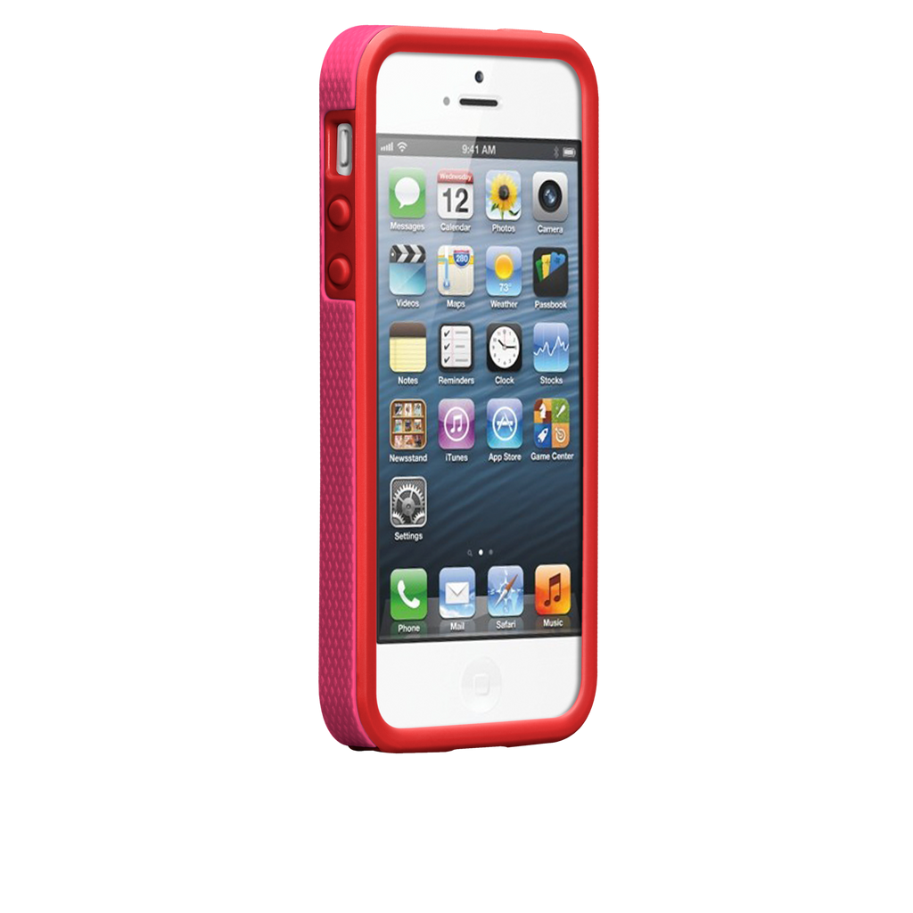 iPhone 5/5s Lipstick Pink & Flame Red Tough Case - image angle 2