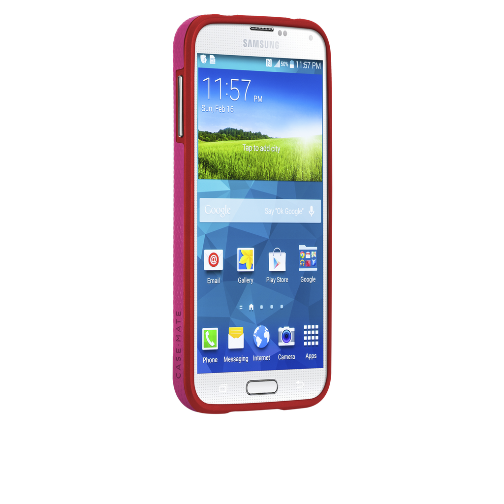 Samsung GALAXY S5 Lipstick Pink & Flame Red Tough Case - image angle 2