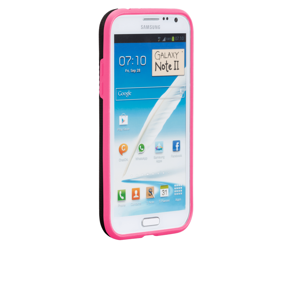 Samsung GALAXY Note 2 Black & Lipstick Pink Tough Case - image angle 2