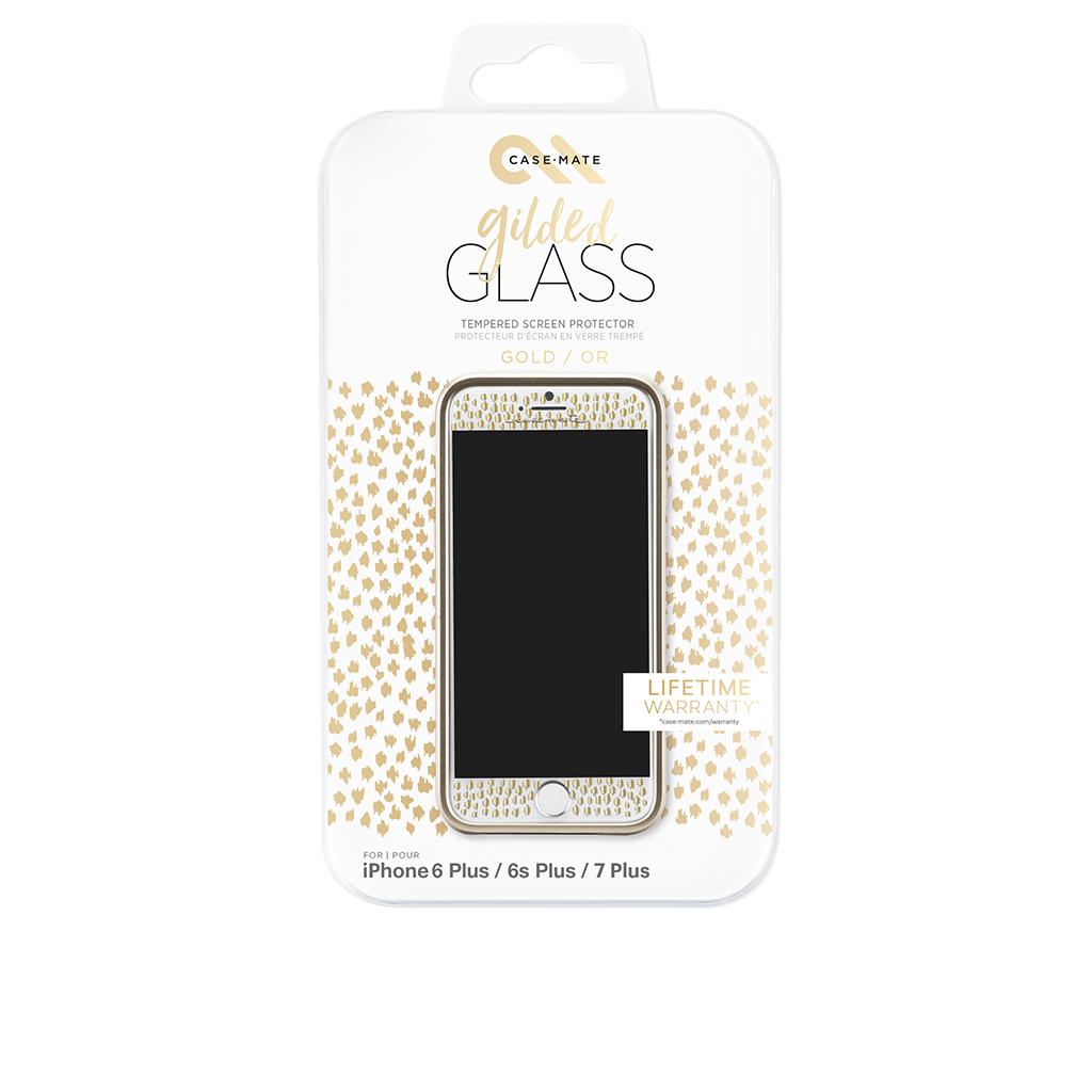 Gold Gilded Glass iPhone 7 Plus Screen Protector Packaging