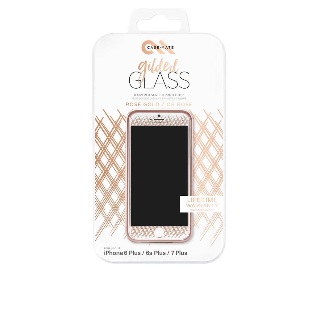 Rose Gold Gilded Glass iPhone 7 Plus Screen Protector Packaging