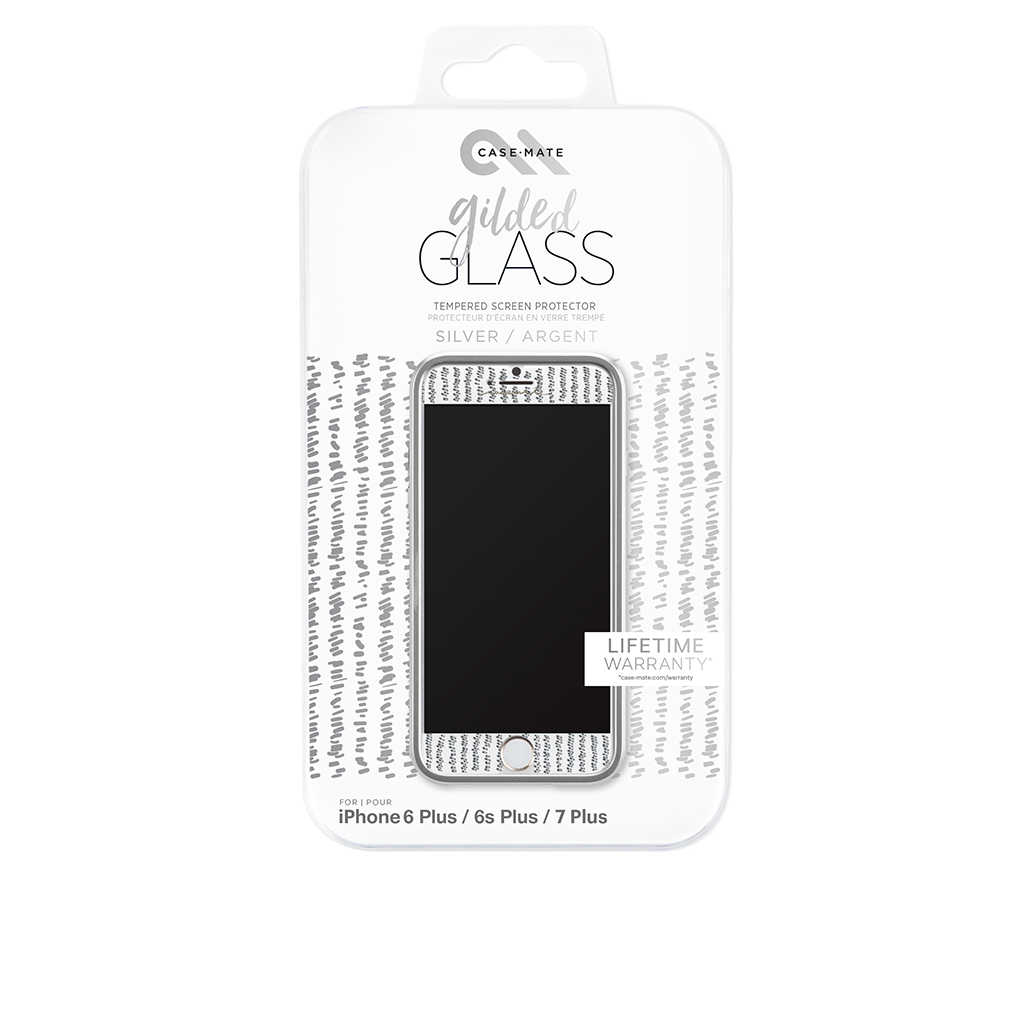 Silver Gilded Glass iPhone 7 Screen Protector Packaging