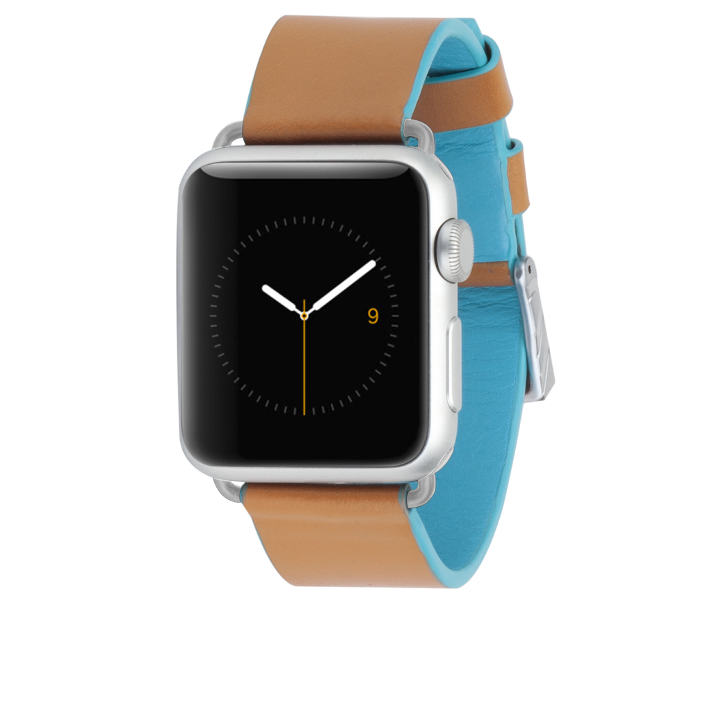 Apple Watch 38Mm Brown & Blue Edged Leather Band - image angle 2