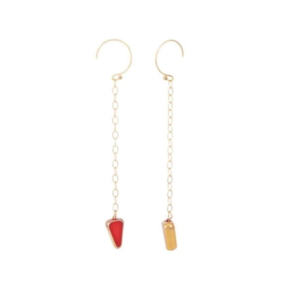 Retro Earrings, Red rock chains - LilahV