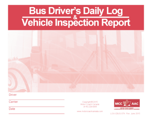 Bus Driver's Daily Log Book & Daily Vehicle Inspection Report - Stock