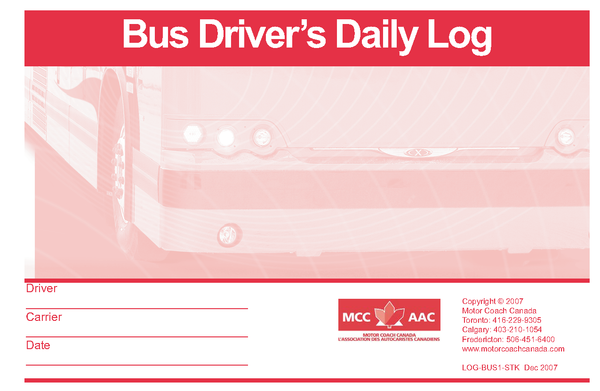 Imprinted - Bus Driver's Daily Log Book