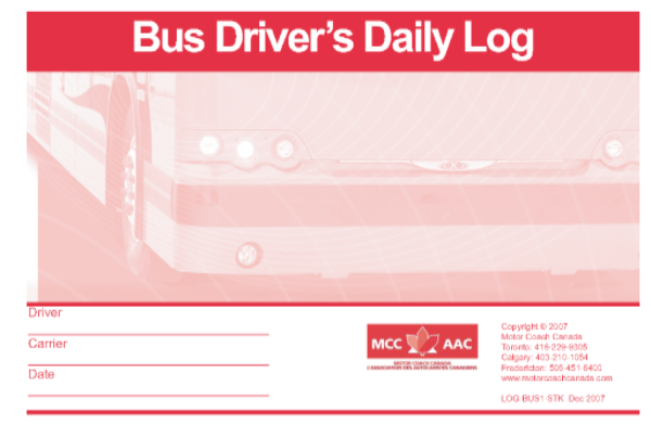 Bus Driver's Daily Log Book - Stock