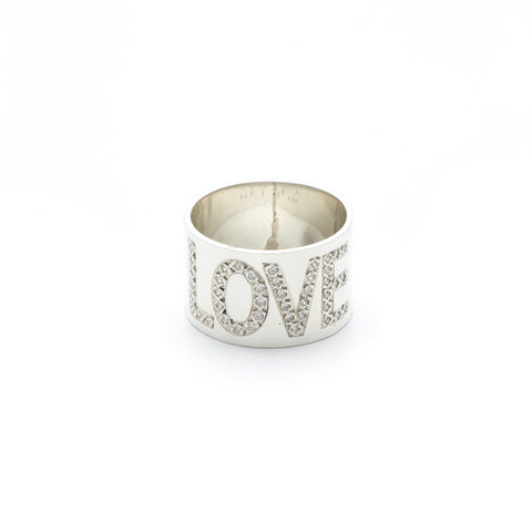 Pave Stone Word Ring