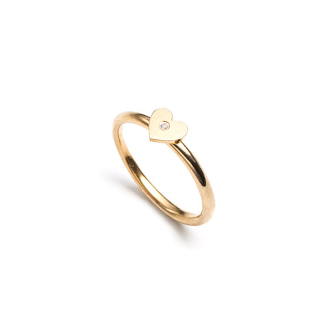 Stacking Ring with Diamond Gold Vermeil