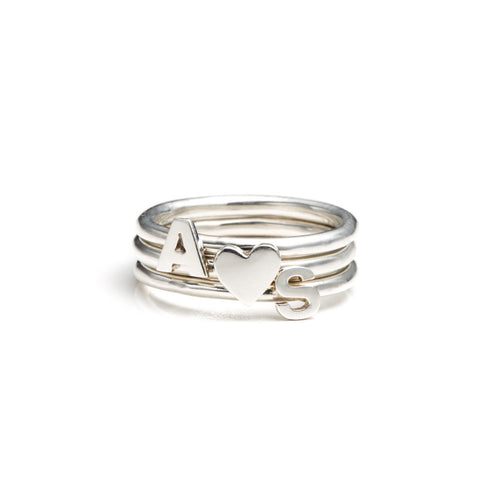 Letter Stacking Rings sterling