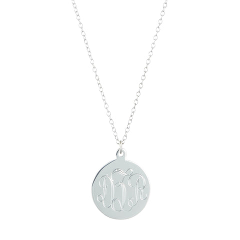 Small Monogram Disk Necklace