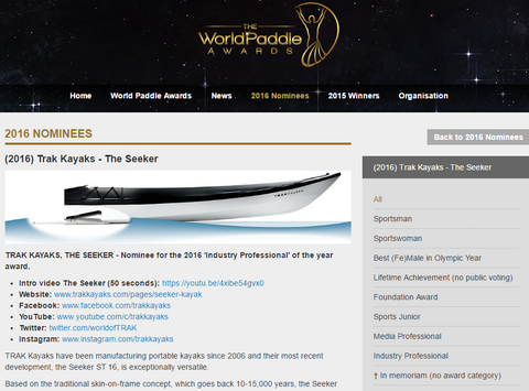 TRAK Kayaks World Paddle Award