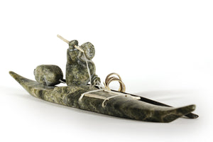 Original Inuit Kayak Carving w/ Harpoon and Paddle