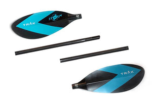 four pieces - TRAK Pilot Edition Lendal Storm 4 piece carbon fiber straight shaft Paddle.  (graphics NOT EXACTLY AS SHOWN, for reference)