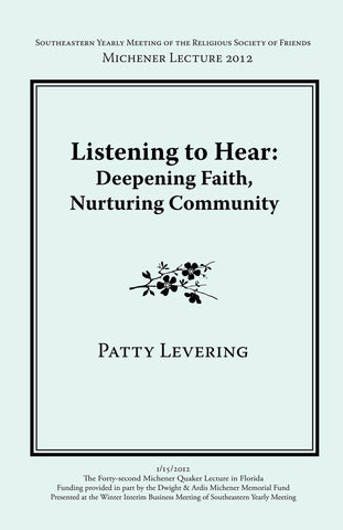 Listening To Hear: Deepening Faith, Nurturing Community (booklet)