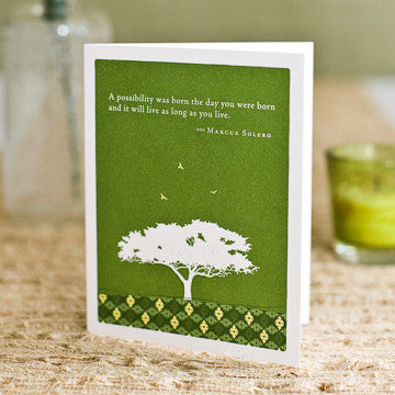Greeting Card:     A possibility was born the day you were born and it will live as long as you live.     (Marcus Solero)