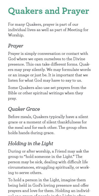 Newcomer Card: Quakers and Prayer