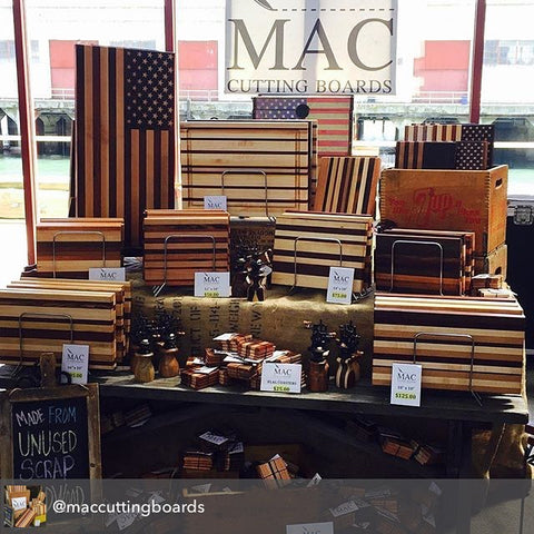 Mac Cutting Boards booth display at Renegade Craft Fair in San Francisco, CA