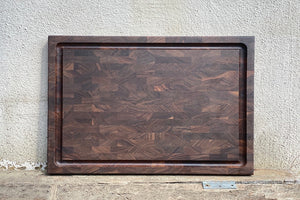 Walnut end grain cutting board made in San Francisco, CA.  Mac Cutting Boards sourced all the woods in the United States.