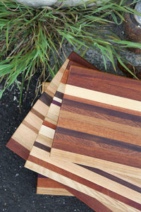 Edge grain cutting boards made by Mac Cutting Boards in San Francisco, CA.  All woods are sourced in the United States.