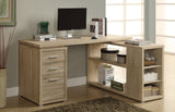 "Bureau d'ordinateur en ""L"" bois naturel - Monarch I7219"