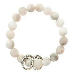 BB16SS-S |  MATTE AGATE STONE WITH TWO STERLING LOOPS