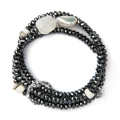 BBT20-HW HEMATITE AND PEARL TREASURE TRIPLE STRAND | STUDIO SUZAN