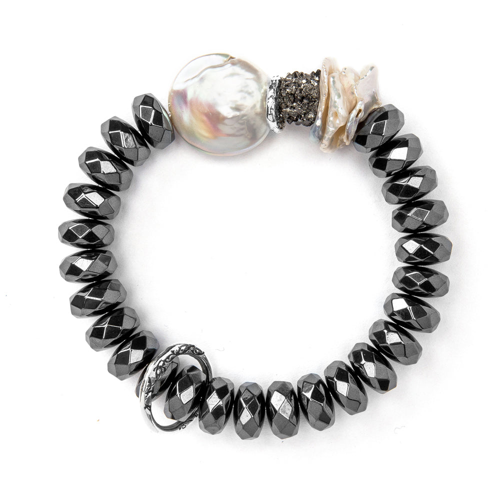 BBT22-HW HEMATITE AND PEARL STATEMENT BRACELET | STUDIO SUZAN