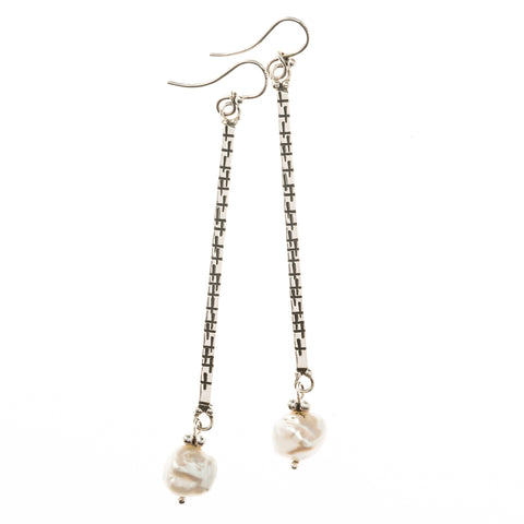 ES22-BP STERLING PEARL AND STICK EARRINGS | STUDIO SUZAN