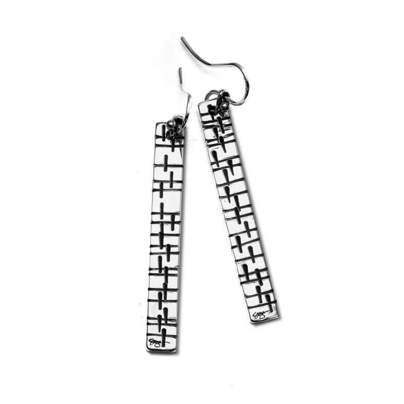 ES28-B | TAILORED TAB EARRINGS MARCH OF SAINTS PATTERN