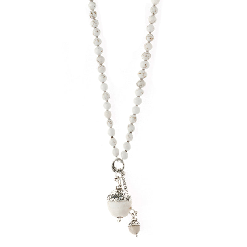 NBAC6-W | WHITE MOMMA AND BABY ACORN NECKLACE