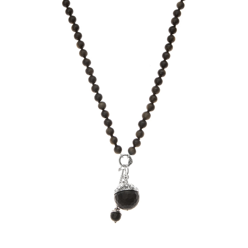NBAC6F-BK | BLACK MOMMA AND BABY ACORN NECKLACE
