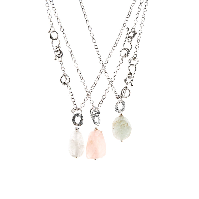 NCH260SS |  STERLING AND STONE NECKLACE