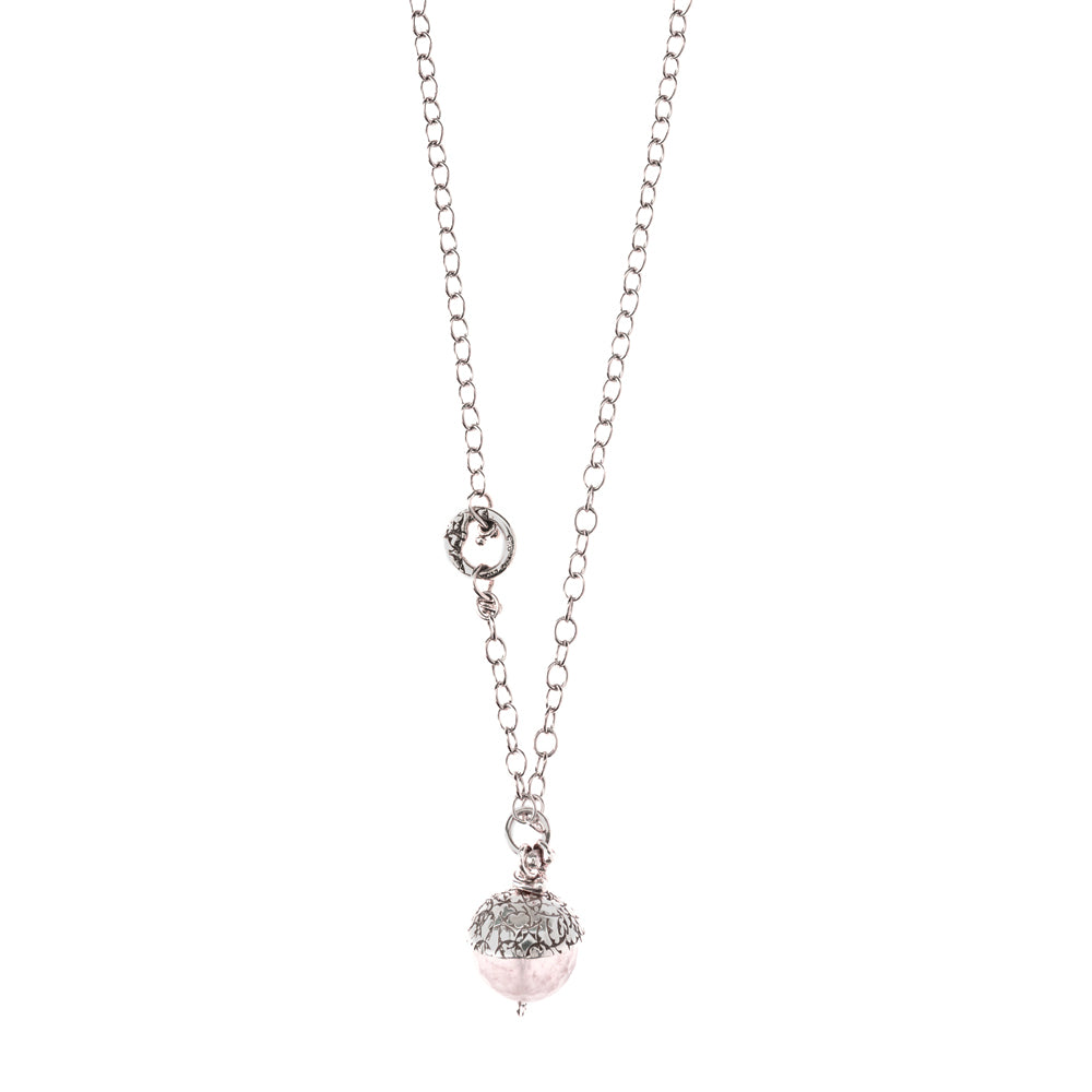 NCHAC3-P PINK QUARTZ ACORN ON CHAIN | STUDIO SUZAN