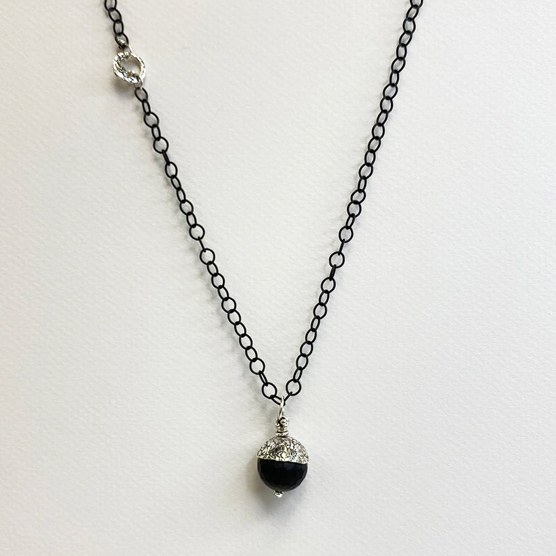 NCHAC3B-BK | BLACK ACORN CHAIN NECKLACE
