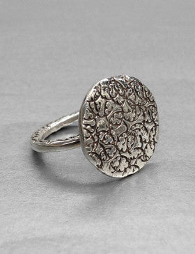 R3 | Handmade sterling silver hammered button ring
