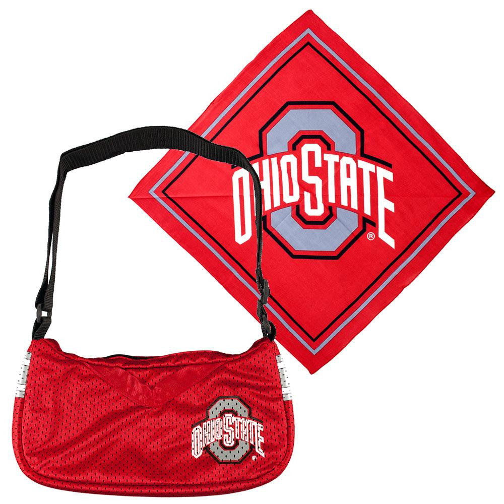 Little Earth Ohio State Buckeyes NCAA Fandana and Jersey Purse Set