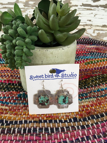 Sweetbird turquoise cross earrings