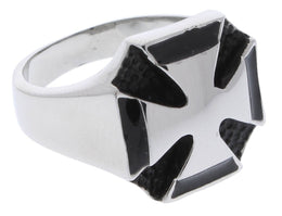 Stainless Steel Double Maltese Cross Ring