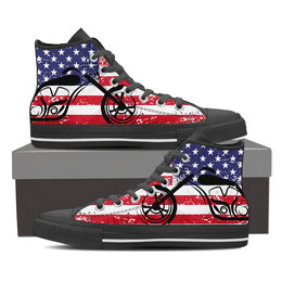 American Flag Chopper Men's High Top Shoes