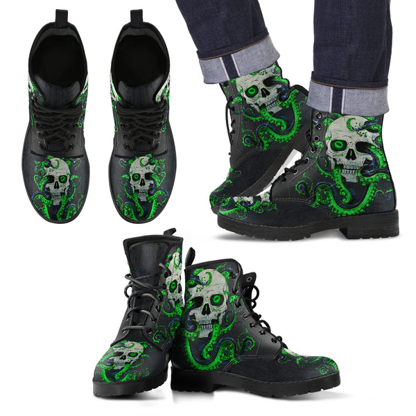 Skull With Octopus Tentacles Men's Handcrafted Premium Boots V3