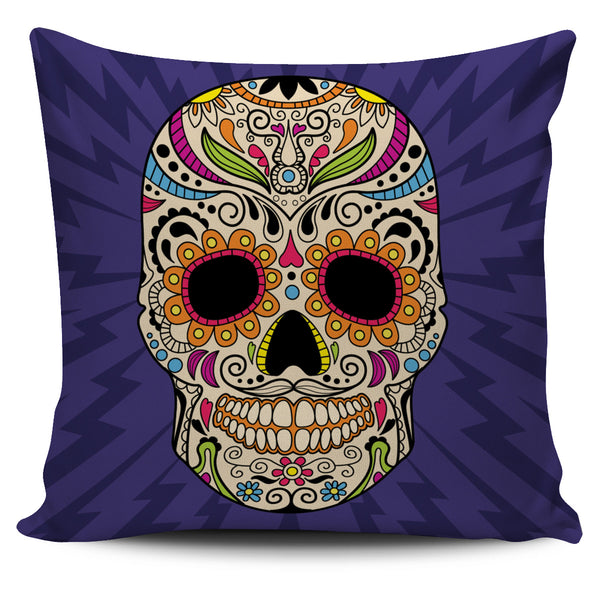 Blue Radiant Skull Pillow Cover