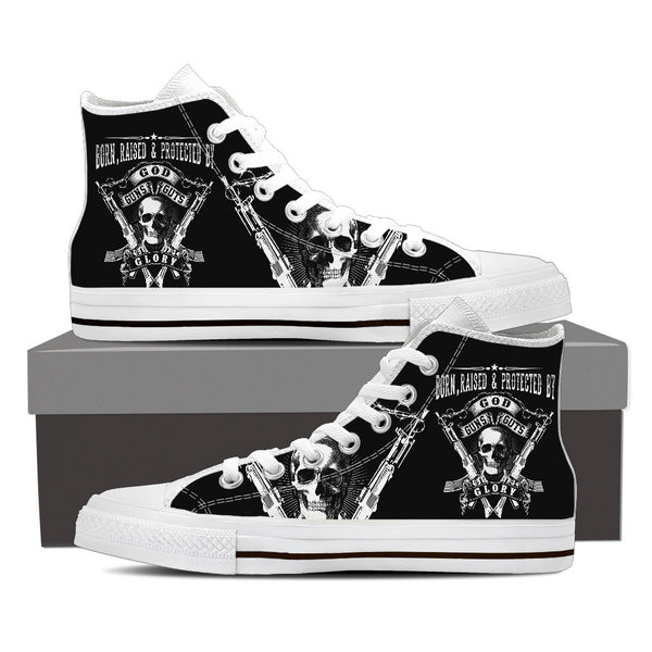 Born, Raised, and Protected by God, Guns, Guts, & Glory Men's High Top Canvas Shoe