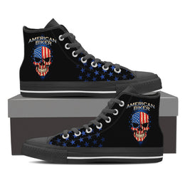 American Biker Skull Men's High Top Canvas Shoes