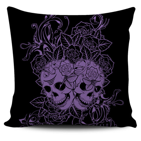 Wild Skulls & Roses Pillow Cover